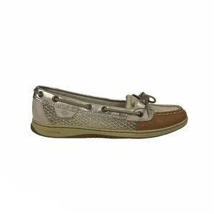 Sperry Angelfish Gold Mesh Slip-On Boat Shoes 9